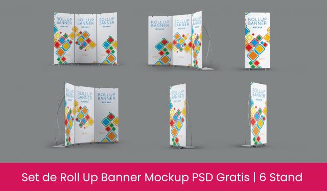 Descarga Roll Up Banner Mockup - psd gratis - vinyl - stand - banner mockup psd gratis - plantillas de banner gratis en psd - rollup template psd
