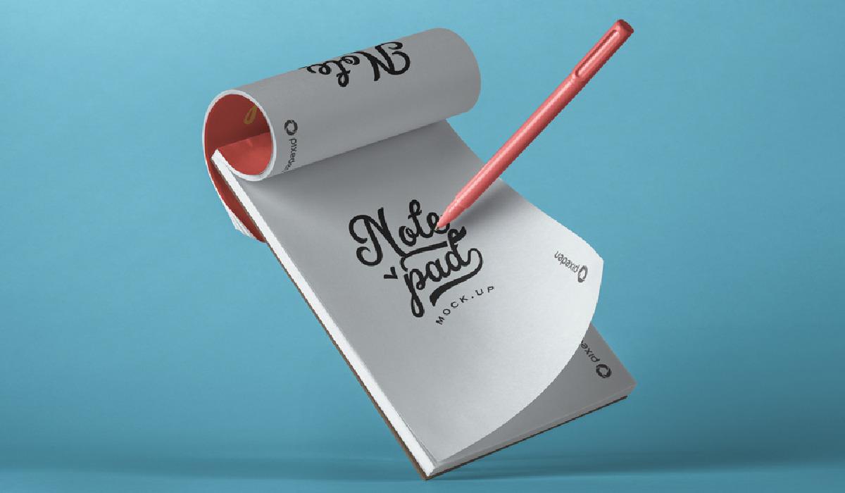 Psd Mockup cuaderno tipo libreta gratis - mockup gratuito - libreta mockup psd gratis