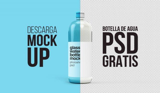 Gratis Mockup de botella de agua - descarga en psd - envase mock up - plantilla de vidrio gratuita