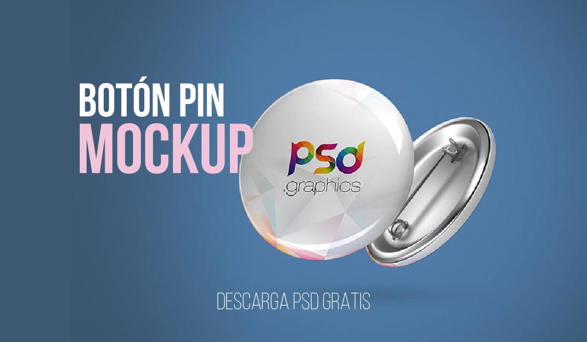 PSD Boton publicitario mockup - template pin - botones metalicos - descarga gratis