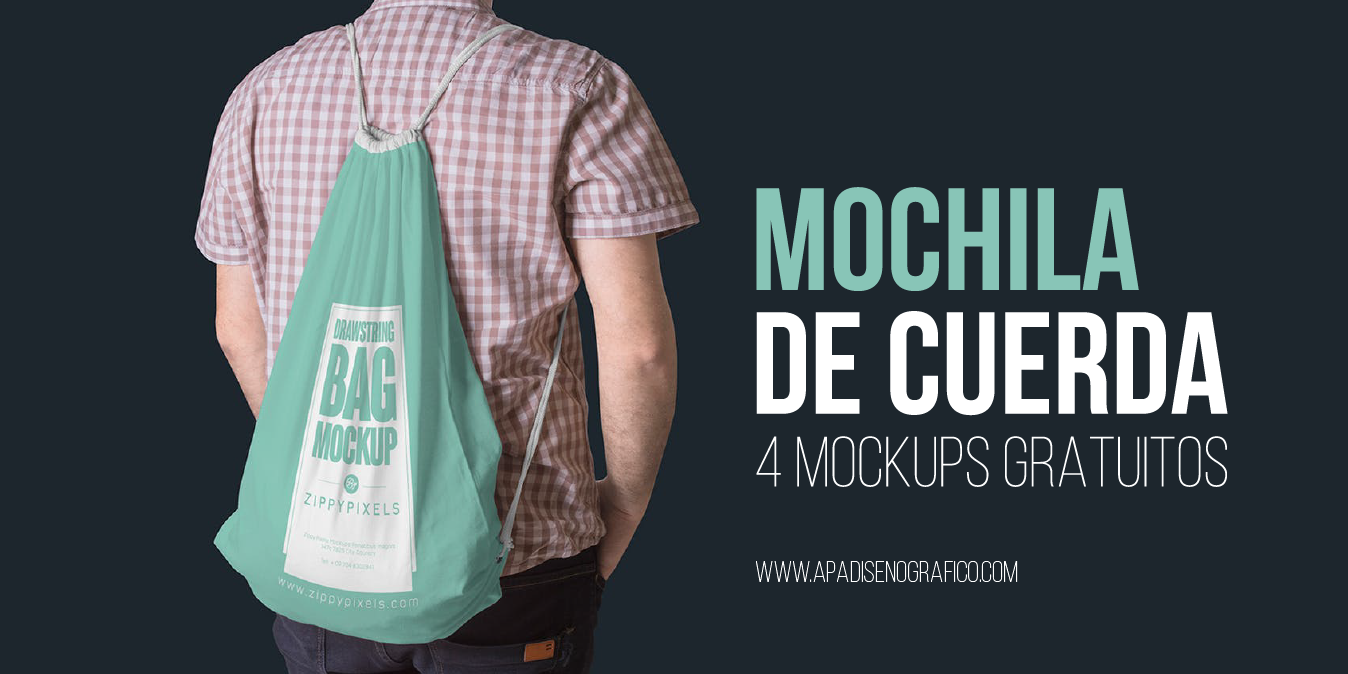 4 Mockups gratuitos para Mochila de tela - bag mock up - plantillas - psd - descargar - cuerda - cordon