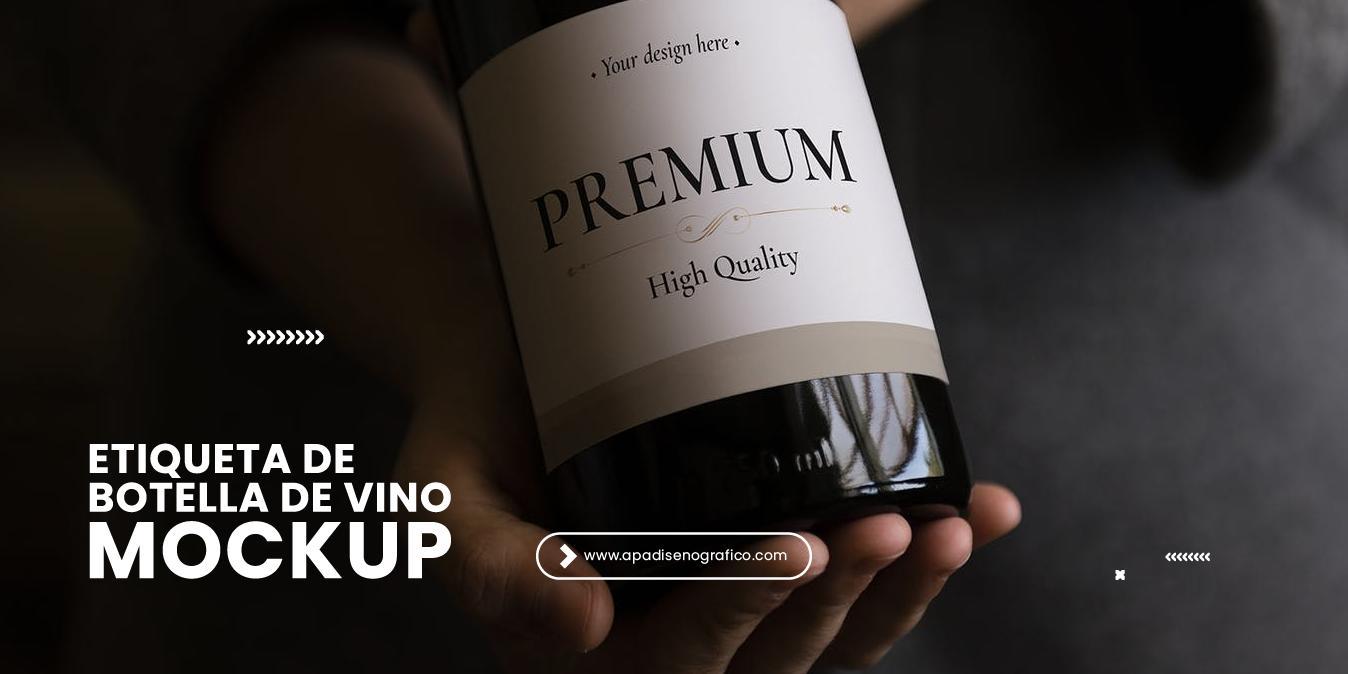 Mockup de etiqueta para botellas de vino en psd gratis - descargar