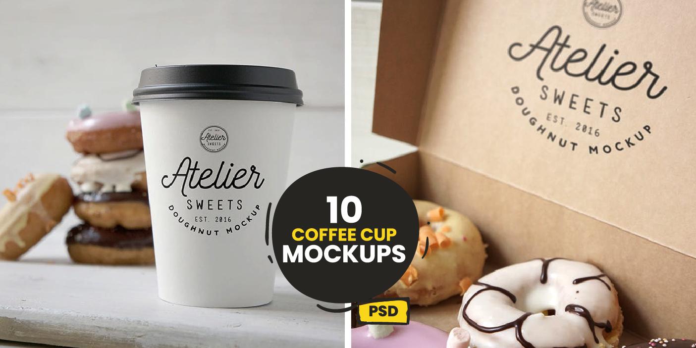 10 Mockups para presentar marcas de café en vasos plasticos- plantillas - gratis - branding - panaderia - cafeteria - psd