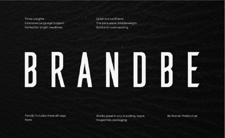 Brandbe - tipo - para titulos - branding - carteles - publicidad - gratis - uso libre