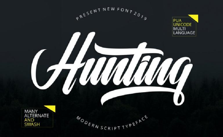 Hunting - fuente script - moderna - gratis