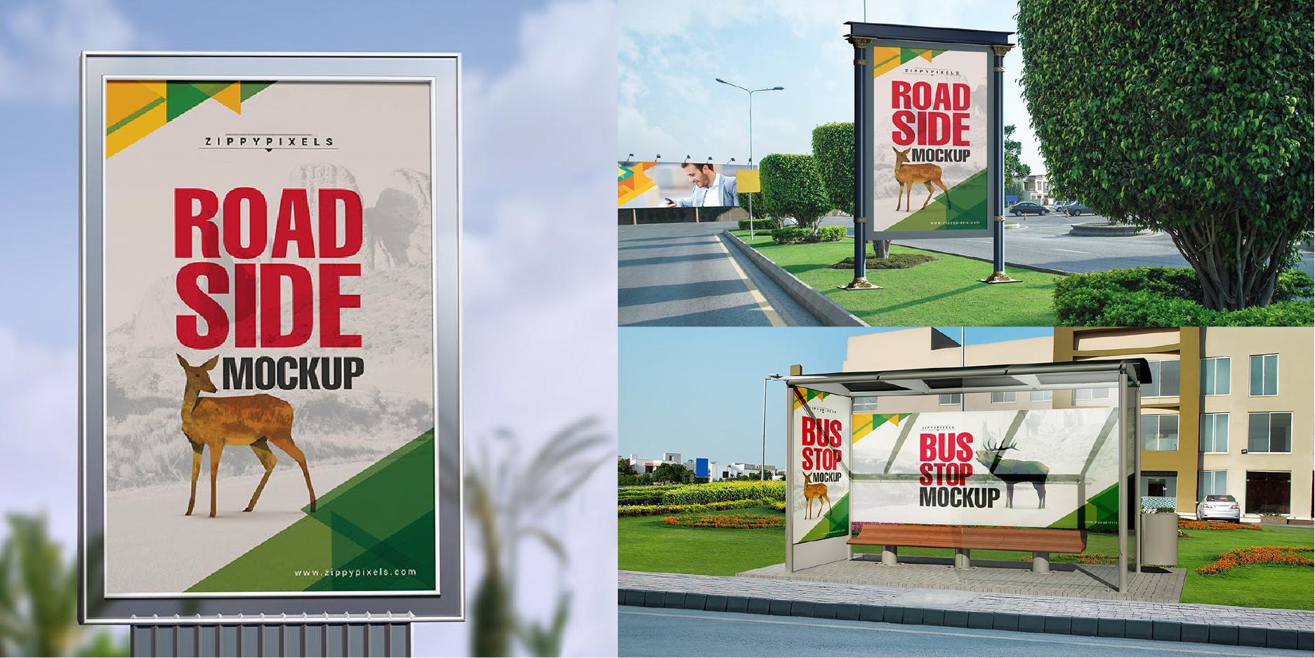 maquetas y vallas publicitarias para colocar diseños de carteles en psd gratis