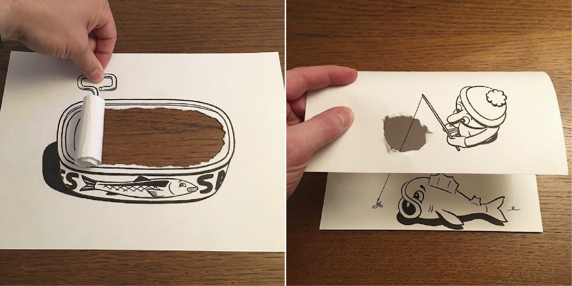 Dibujos 3d hechos con pedazos de hojas de papel