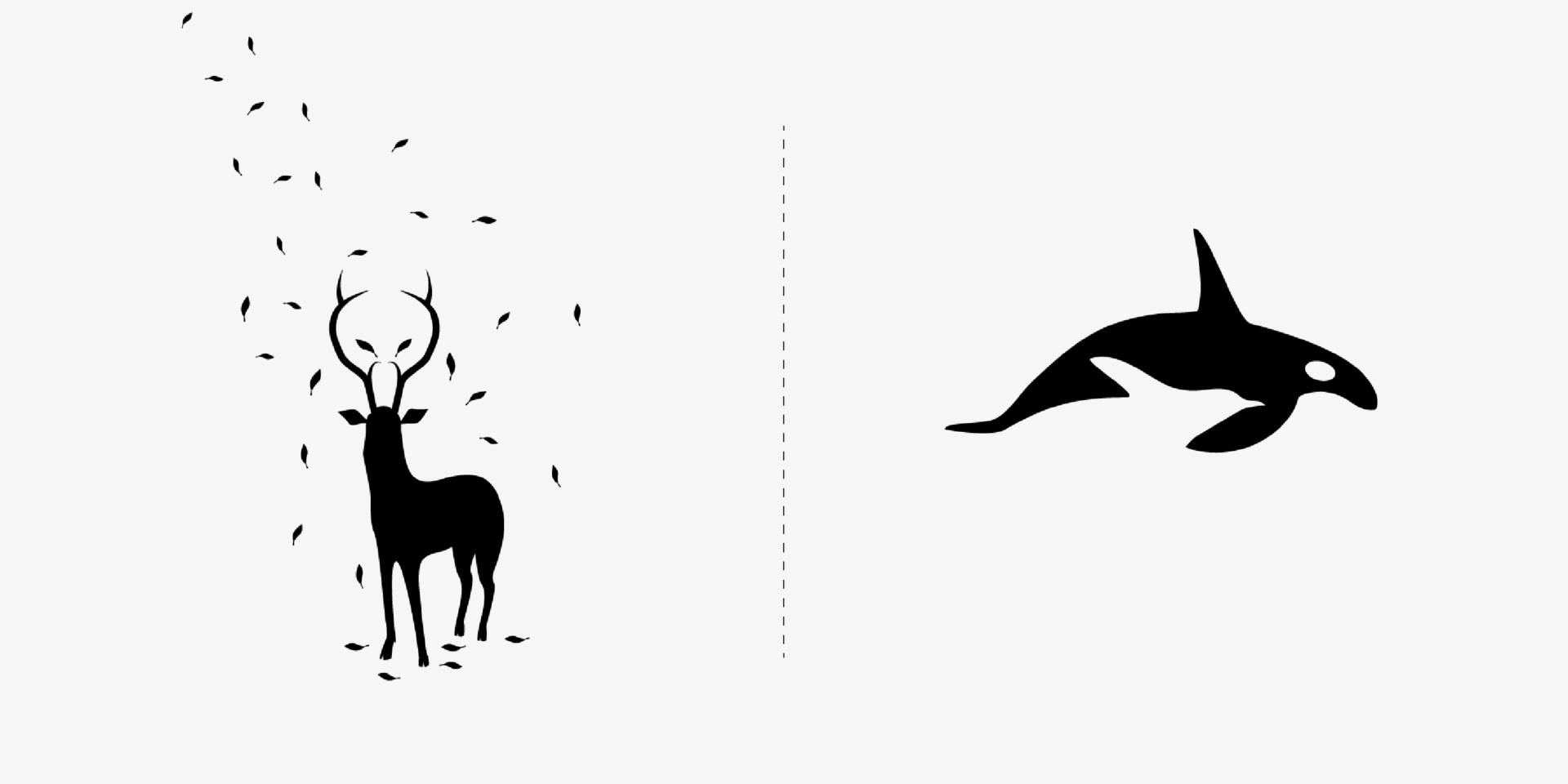 diseños e ilustraciones de depredadores y presas en blanco y negro